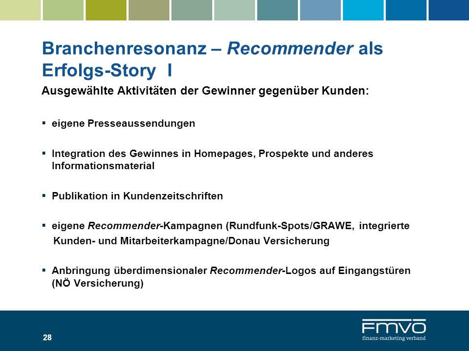 Branchenresonanz – Recommender als Erfolgs-Story I Ausgewählte Aktivitäten der Gewinner gegenüber Kunden: eigene Presseaussendungen Integration des Ge