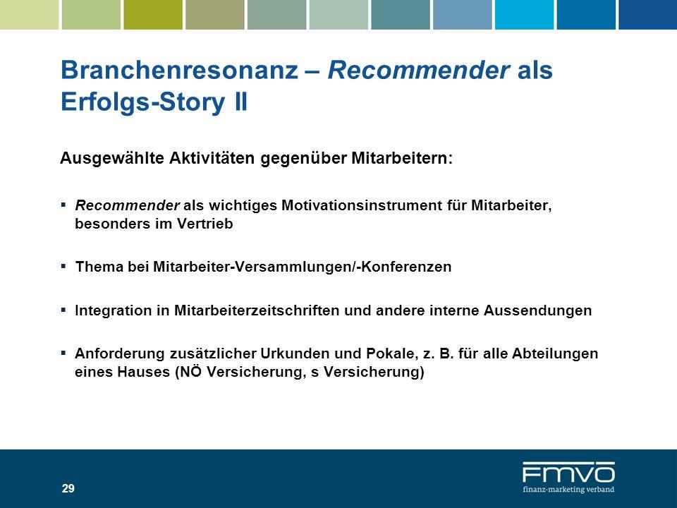 Branchenresonanz – Recommender als Erfolgs-Story II Ausgewählte Aktivitäten gegenüber Mitarbeitern: Recommender als wichtiges Motivationsinstrument fü