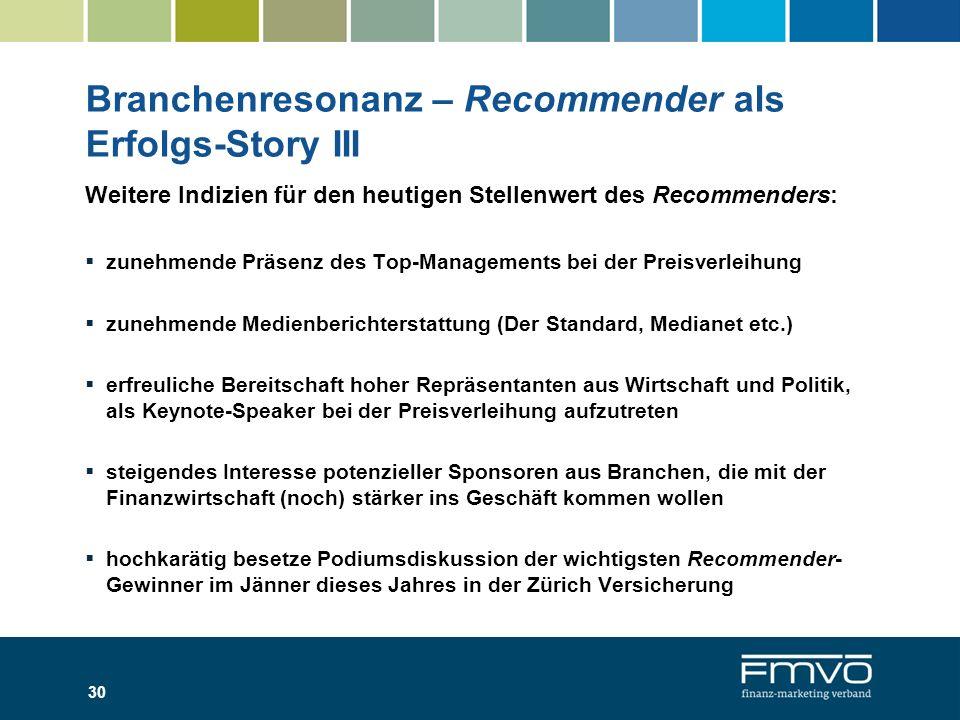 Branchenresonanz – Recommender als Erfolgs-Story III Weitere Indizien für den heutigen Stellenwert des Recommenders: zunehmende Präsenz des Top-Manage