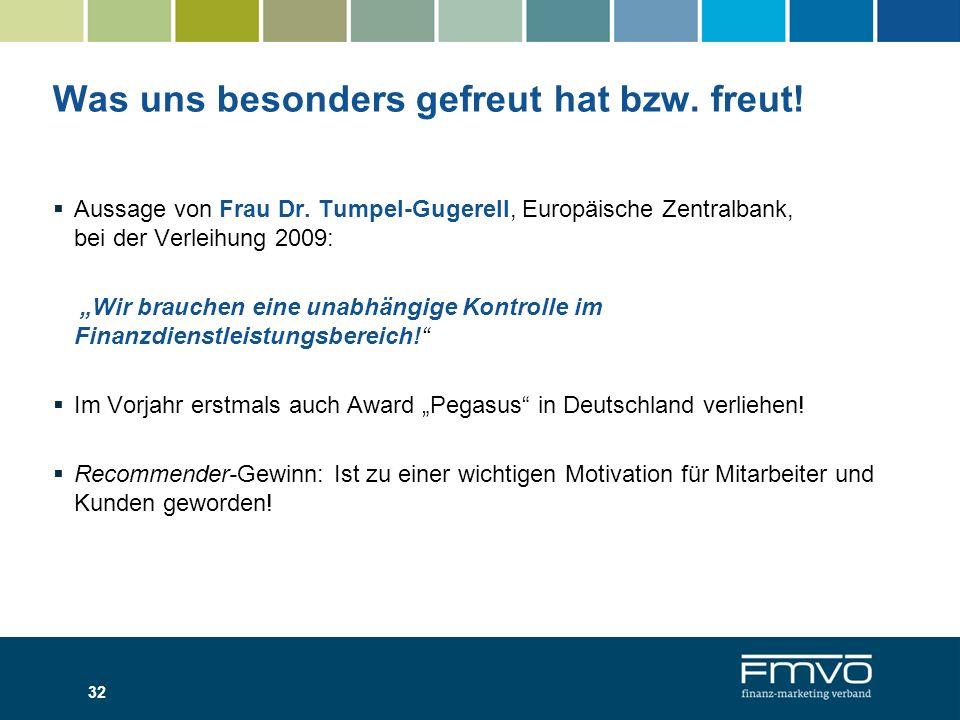 Was uns besonders gefreut hat bzw. freut! 32 Aussage von Frau Dr. Tumpel-Gugerell, Europäische Zentralbank, bei der Verleihung 2009: Wir brauchen eine