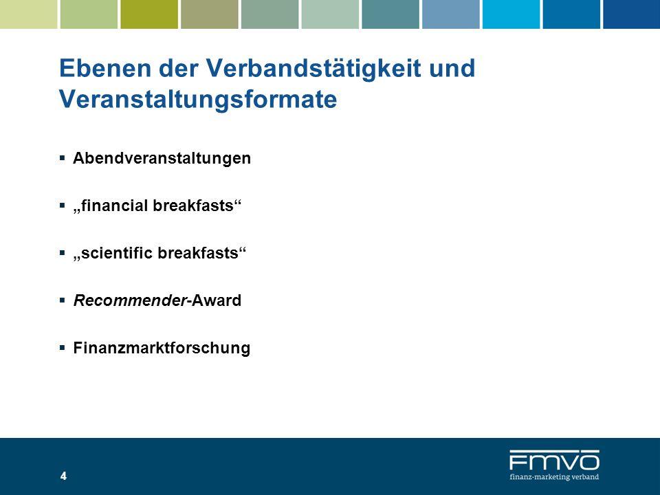 Abendveranstaltungen financial breakfasts scientific breakfasts Recommender-Award Finanzmarktforschung 4 Ebenen der Verbandstätigkeit und Veranstaltun