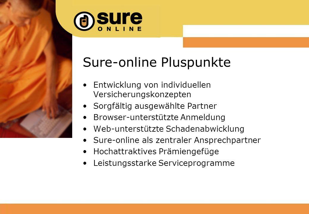 Sure-online Pluspunkte Entwicklung von individuellen Versicherungskonzepten Sorgfältig ausgewählte Partner Browser-unterstützte Anmeldung Web-unterstützte Schadenabwicklung Sure-online als zentraler Ansprechpartner Hochattraktives Prämiengefüge Leistungsstarke Serviceprogramme