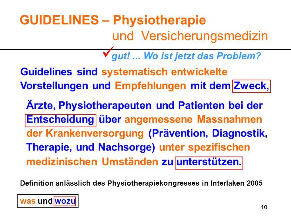 10 Guidelines sind systematisch entwickelte Vorstellungen und Empfehlungen mit dem Zweck, Ärzte, Physiotherapeuten und Patienten bei der Entscheidung