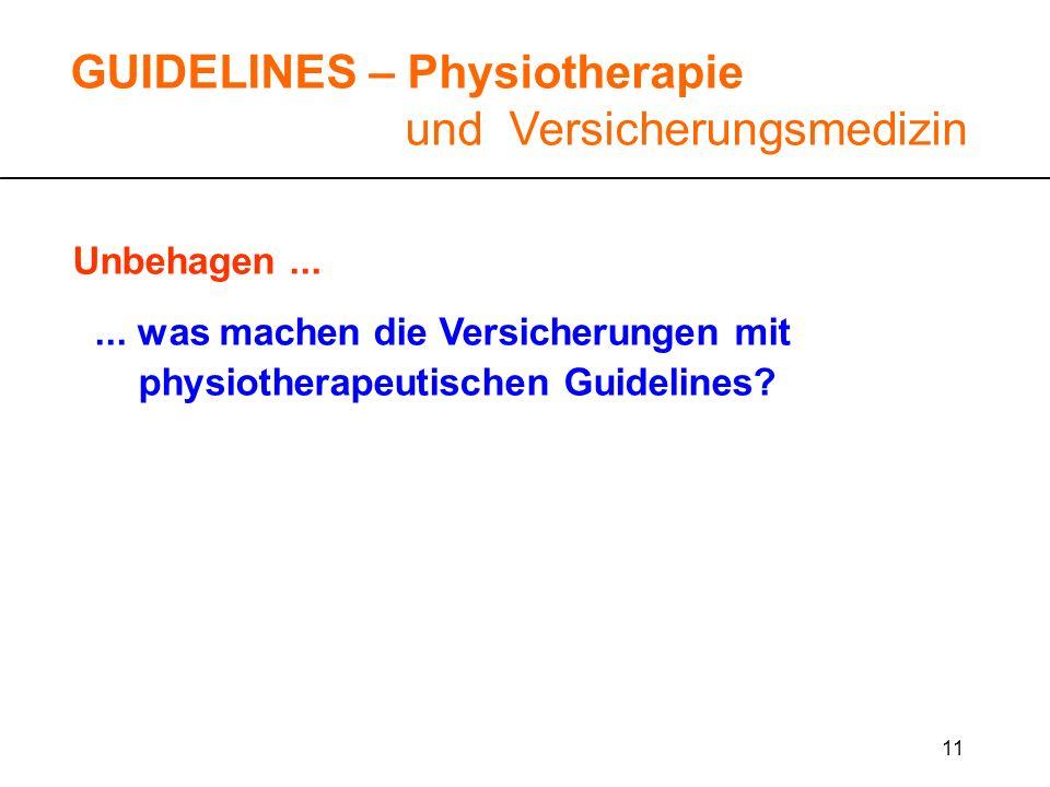 11 Unbehagen...... was machen die Versicherungen mit physiotherapeutischen Guidelines? GUIDELINES – Physiotherapie und Versicherungsmedizin