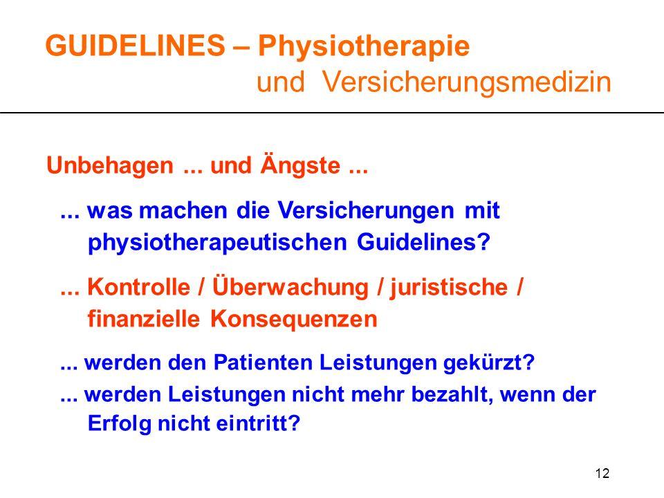 12 Unbehagen... und Ängste...... was machen die Versicherungen mit physiotherapeutischen Guidelines?... Kontrolle / Überwachung / juristische / finanz