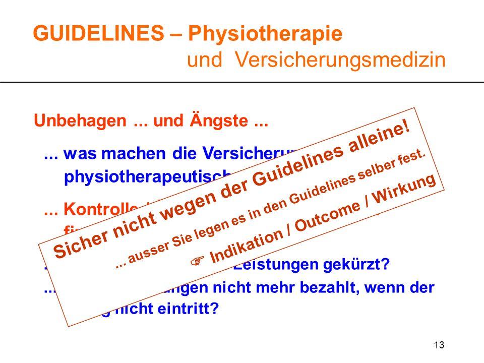 13 Unbehagen... und Ängste...... was machen die Versicherungen mit physiotherapeutischen Guidelines?... Kontrolle / Überwachung / juristische / finanz
