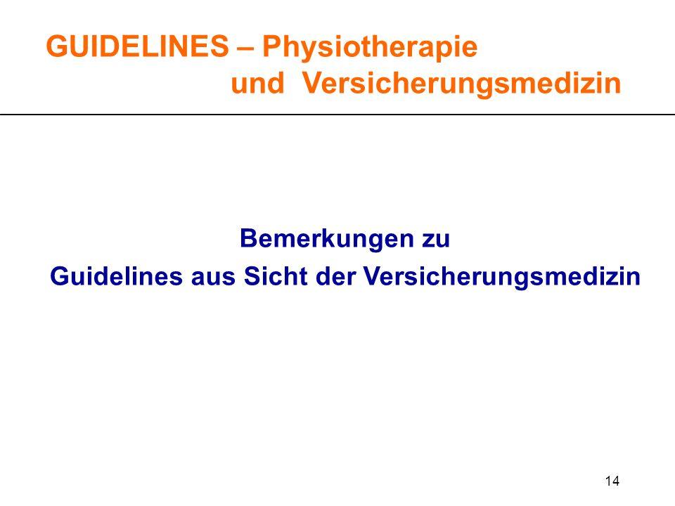 14 GUIDELINES – Physiotherapie und Versicherungsmedizin Bemerkungen zu Guidelines aus Sicht der Versicherungsmedizin