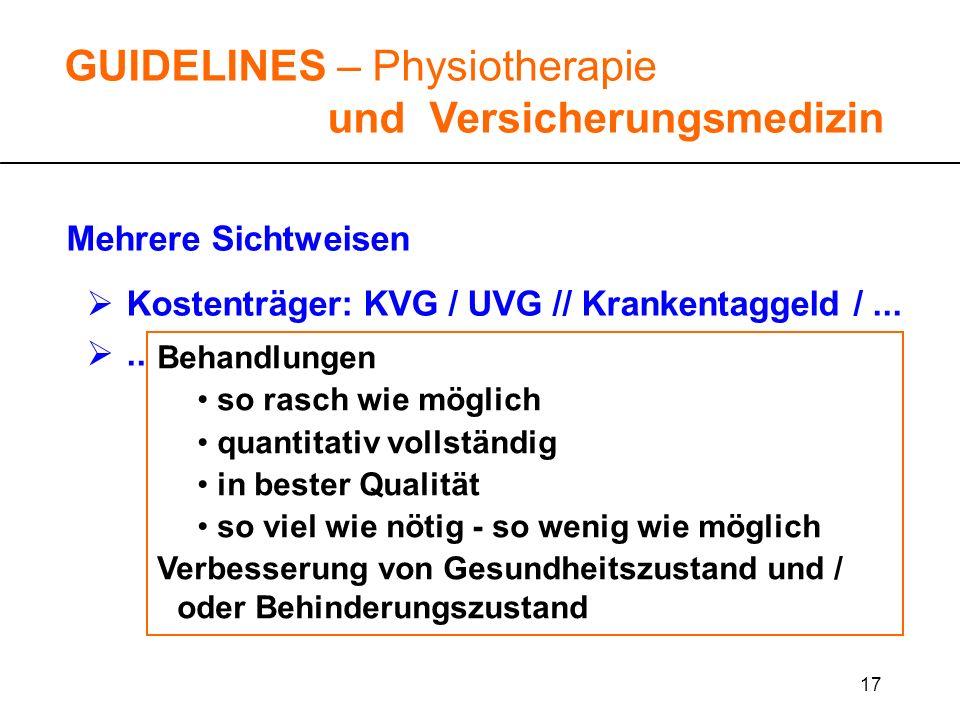 17 GUIDELINES – Physiotherapie und Versicherungsmedizin Mehrere Sichtweisen Kostenträger: KVG / UVG // Krankentaggeld /...... Behandlungen so rasch wi