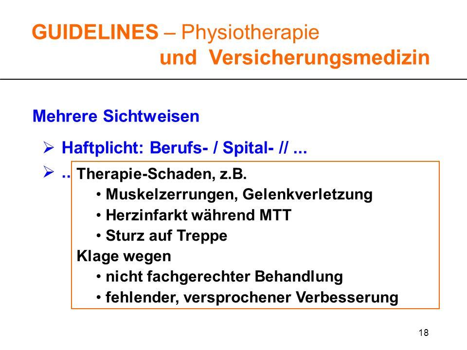 18 GUIDELINES – Physiotherapie und Versicherungsmedizin Mehrere Sichtweisen Haftplicht: Berufs- / Spital- //...... Therapie-Schaden, z.B. Muskelzerrun