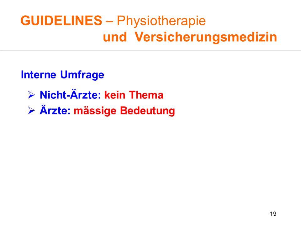 19 GUIDELINES – Physiotherapie und Versicherungsmedizin Interne Umfrage Nicht-Ärzte: kein Thema Ärzte: mässige Bedeutung