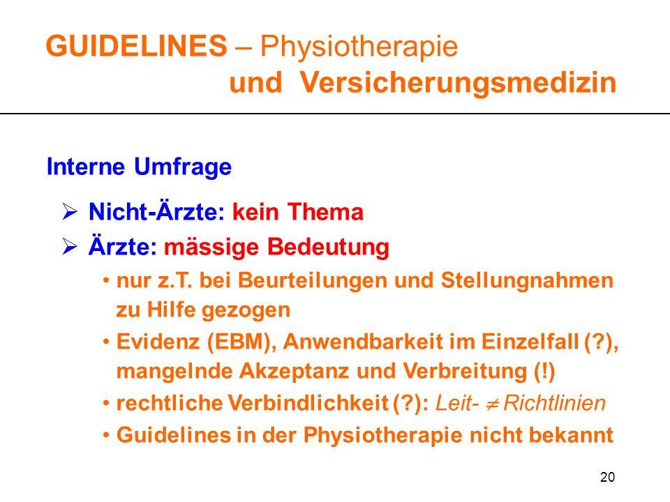 20 GUIDELINES – Physiotherapie und Versicherungsmedizin Interne Umfrage Nicht-Ärzte: kein Thema Ärzte: mässige Bedeutung nur z.T. bei Beurteilungen un
