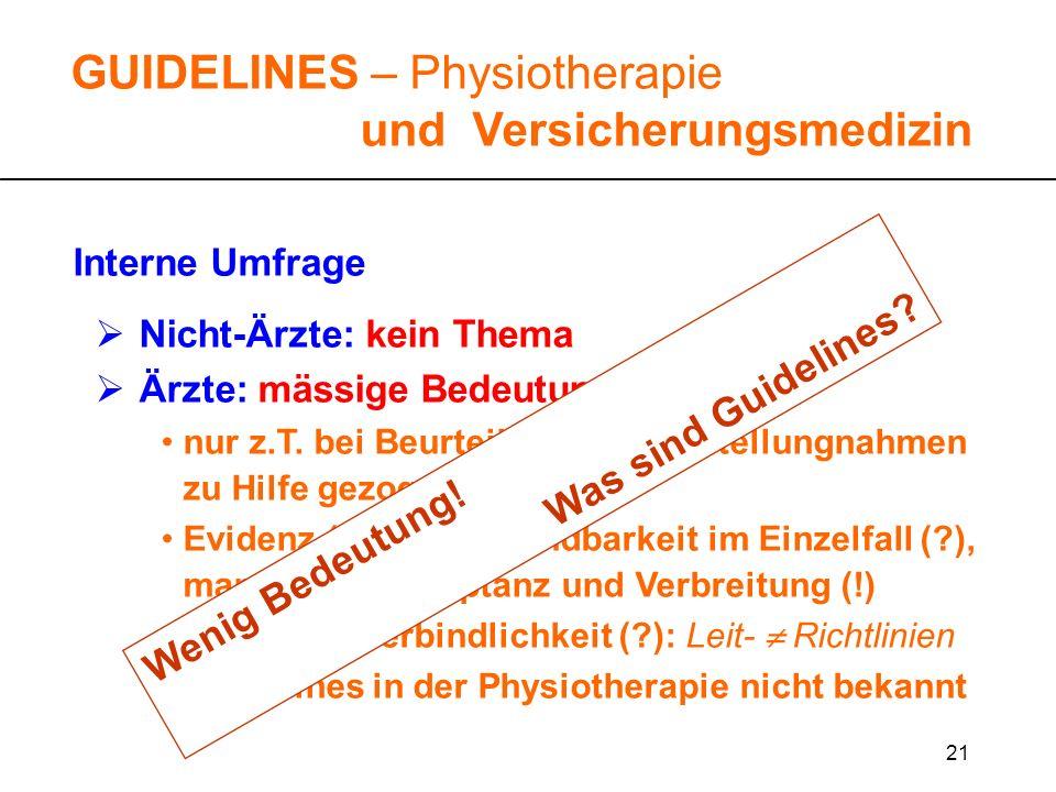21 GUIDELINES – Physiotherapie und Versicherungsmedizin Interne Umfrage Nicht-Ärzte: kein Thema Ärzte: mässige Bedeutung nur z.T. bei Beurteilungen un