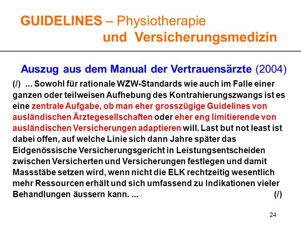 24 GUIDELINES – Physiotherapie und Versicherungsmedizin Auszug aus dem Manual der Vertrauensärzte (2004) (/)... Sowohl für rationale WZW-Standards wie
