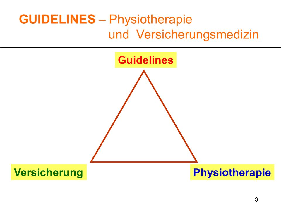 64 GUIDELINES – Physiotherapie und Versicherungsmedizin Auf was stützt sich der Versicherungsmediziner sonst noch ab.