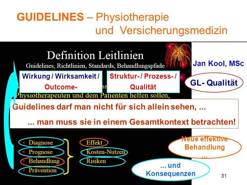 31 GUIDELINES – Physiotherapie und Versicherungsmedizin Jan Kool, MSc IGPTR Zihlschlacht 20. Okt. 2005 Guidelines darf man nicht für sich allein sehen