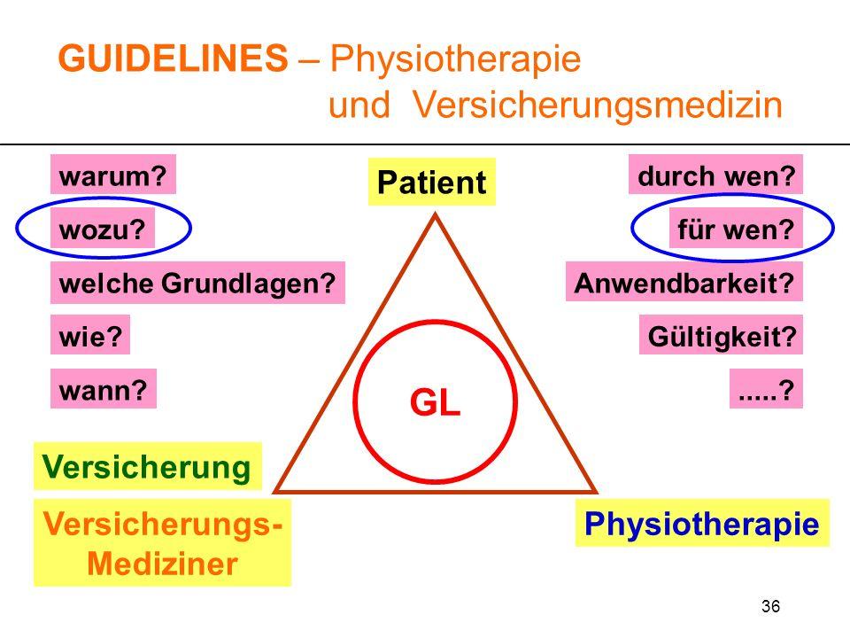 36 warum? wozu?für wen? durch wen?.....? wie? GUIDELINES – Physiotherapie und Versicherungsmedizin Versicherung Versicherungs- Mediziner Physiotherapi