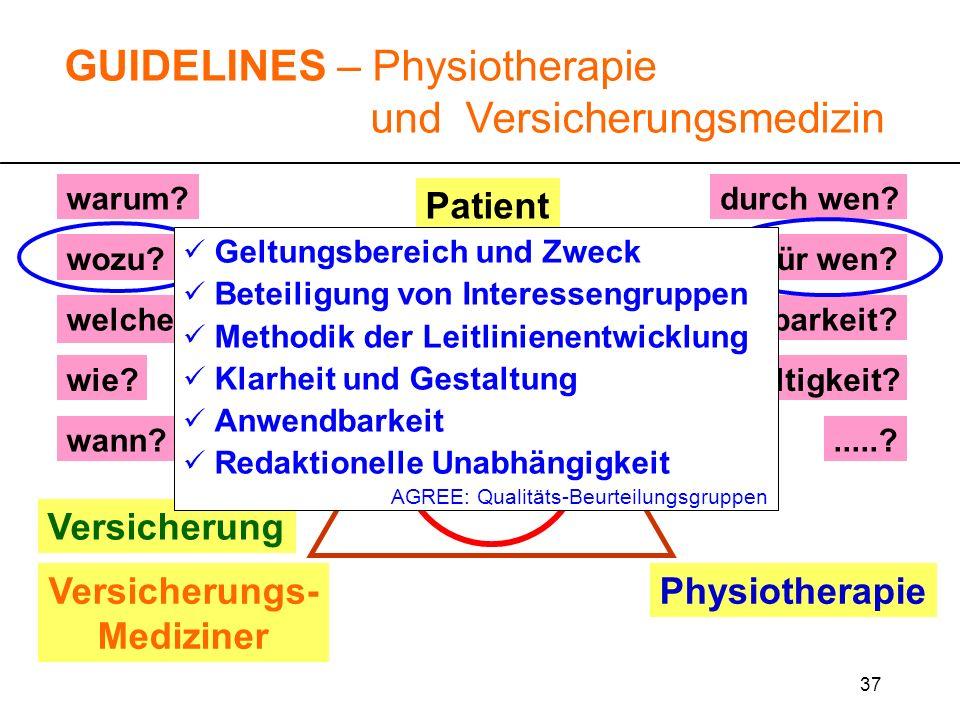 37 warum? wozu?für wen? durch wen?.....? wie? GUIDELINES – Physiotherapie und Versicherungsmedizin Versicherung Versicherungs- Mediziner Physiotherapi