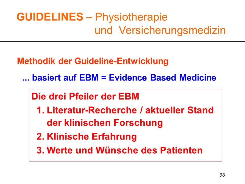 38 Methodik der Guideline-Entwicklung... basiert auf EBM = Evidence Based Medicine GUIDELINES – Physiotherapie und Versicherungsmedizin Die drei Pfeil