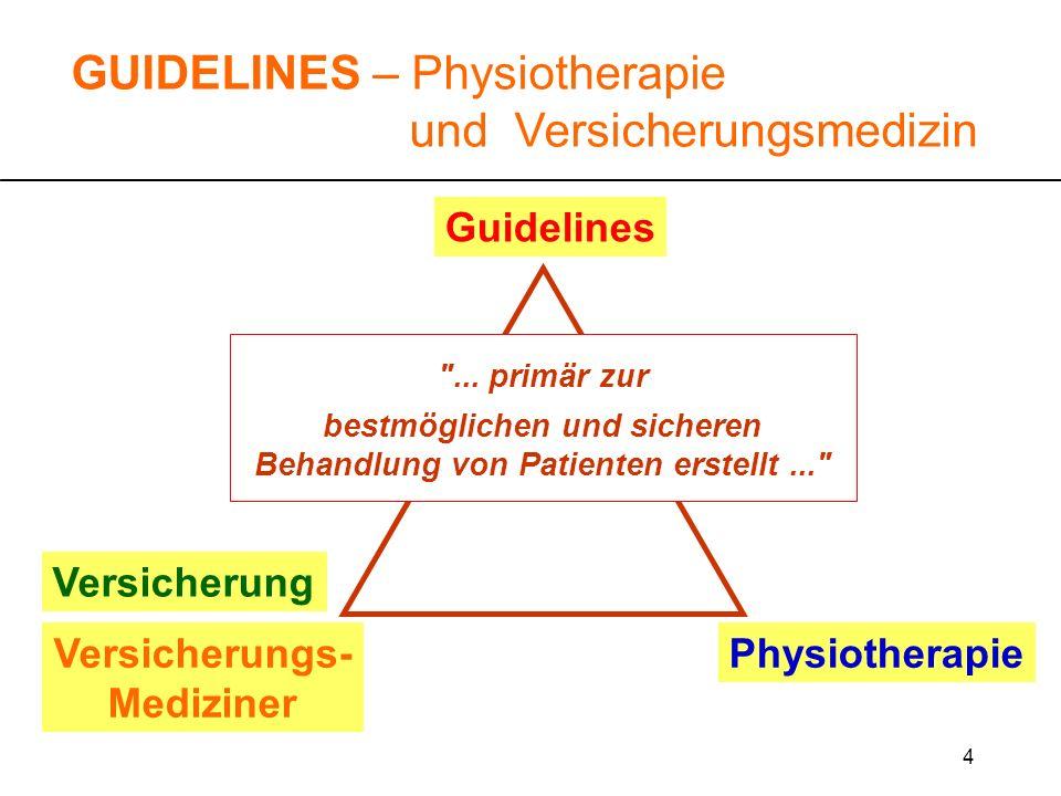 15 GUIDELINES – Physiotherapie und Versicherungsmedizin Guidelines können in die Beurteilung, ob eine Leistung nötig ist und die Behandlung fachgerecht durchgeführt wird, einfliessen.