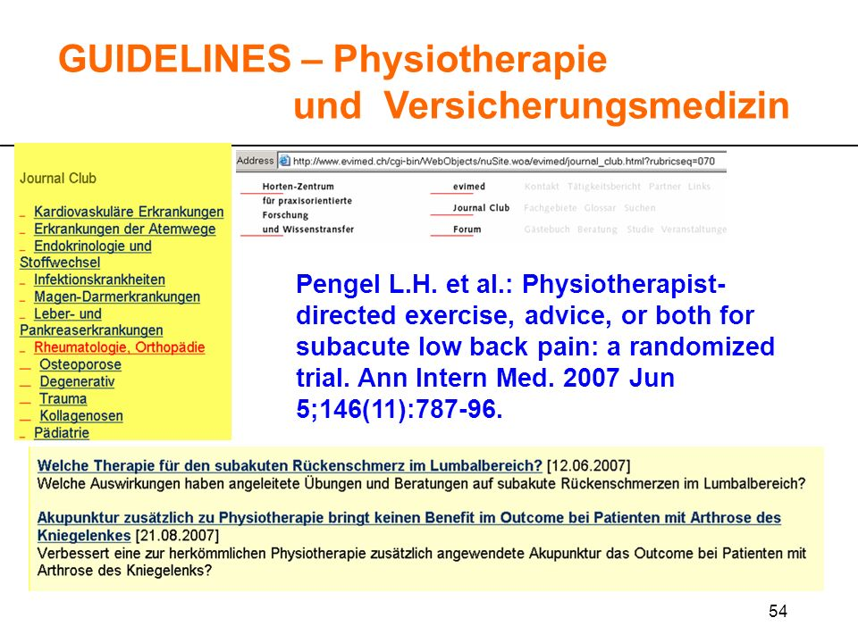 54 GUIDELINES – Physiotherapie und Versicherungsmedizin Pengel L.H. et al.: Physiotherapist- directed exercise, advice, or both for subacute low back