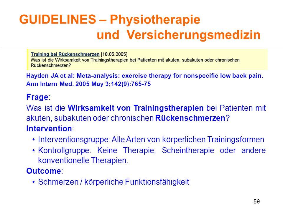 59 GUIDELINES – Physiotherapie und Versicherungsmedizin Frage: Was ist die Wirksamkeit von Trainingstherapien bei Patienten mit akuten, subakuten oder