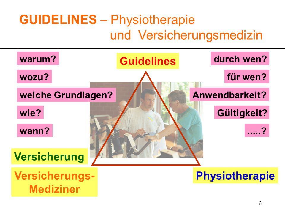 6 Guidelines warum? wozu?für wen? durch wen?.....? wie? GUIDELINES – Physiotherapie und Versicherungsmedizin Versicherung Versicherungs- Mediziner Phy