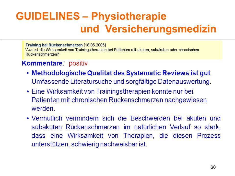 60 GUIDELINES – Physiotherapie und Versicherungsmedizin Kommentare: positiv Methodologische Qualität des Systematic Reviews ist gut. Umfassende Litera