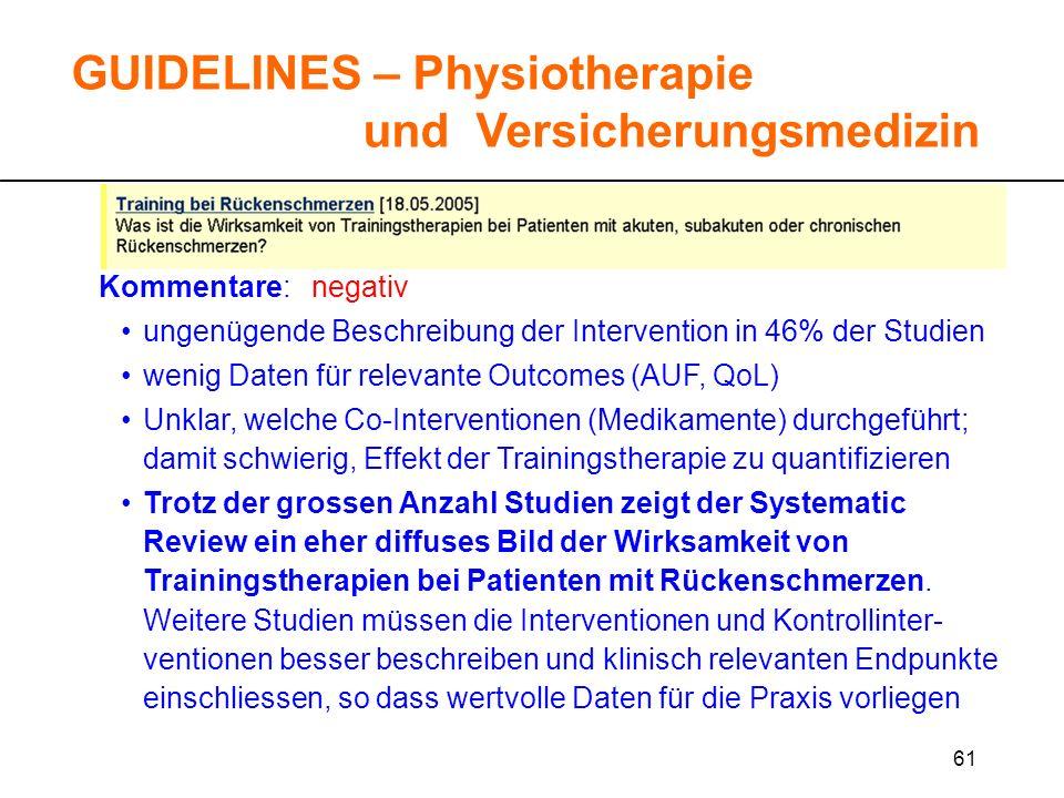 61 GUIDELINES – Physiotherapie und Versicherungsmedizin Kommentare: negativ ungenügende Beschreibung der Intervention in 46% der Studien wenig Daten f