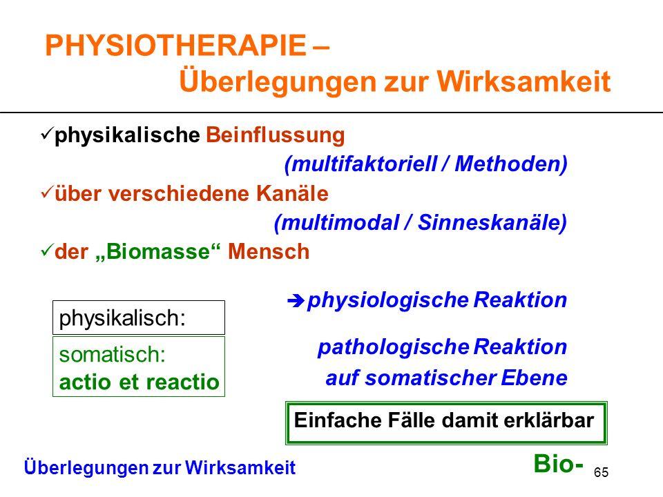65 physikalische Beinflussung (multifaktoriell / Methoden) über verschiedene Kanäle (multimodal / Sinneskanäle) der Biomasse Mensch physiologische Rea