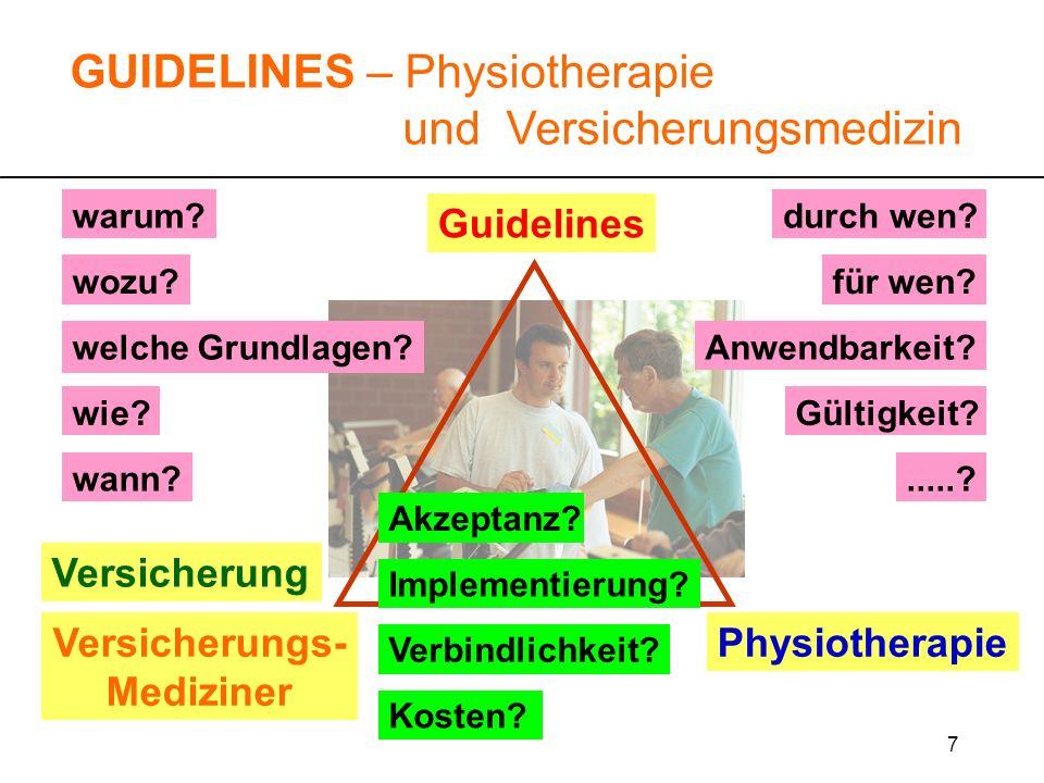 7 Guidelines warum? wozu?für wen? durch wen?.....? wie? GUIDELINES – Physiotherapie und Versicherungsmedizin Versicherung Versicherungs- Mediziner Phy