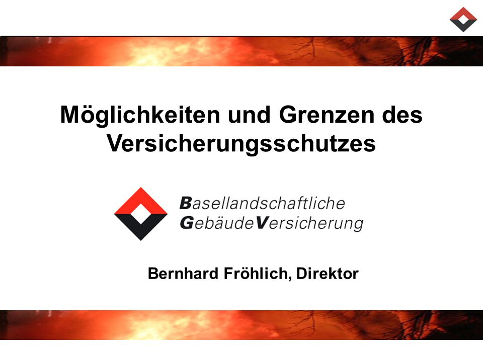 Möglichkeiten und Grenzen des Versicherungsschutzes Bernhard Fröhlich, Direktor