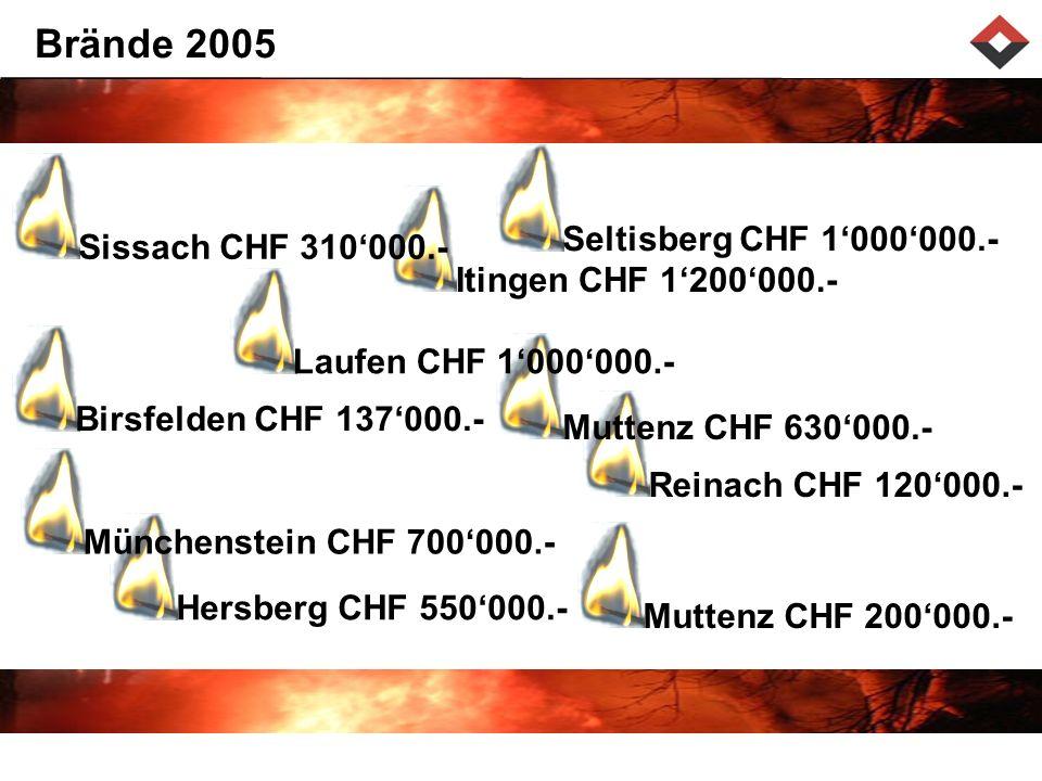 Reinach CHF 120000.-Hersberg CHF 550000.-Muttenz CHF 630000.- Laufen CHF 1000000.- Itingen CHF 1200000.-Seltisberg CHF 1000000.- Brände 2005 Sissach CHF 310000.- Birsfelden CHF 137000.-Münchenstein CHF 700000.- Muttenz CHF 200000.-