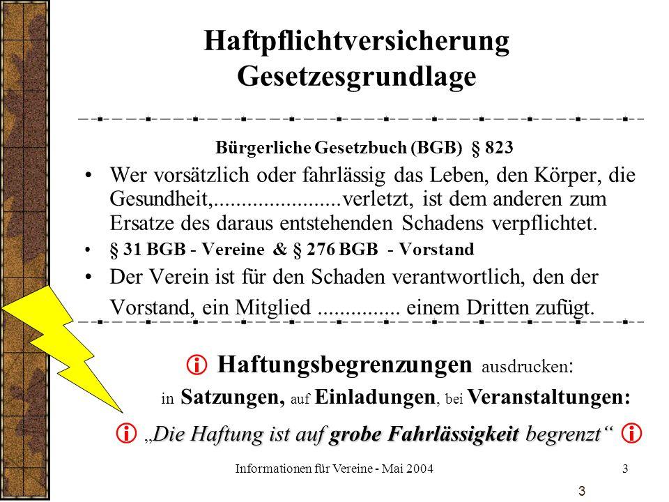 Informationen für Vereine - Mai 20043 3 Haftpflichtversicherung Gesetzesgrundlage Bürgerliche Gesetzbuch (BGB) § 823 Wer vorsätzlich oder fahrlässig d