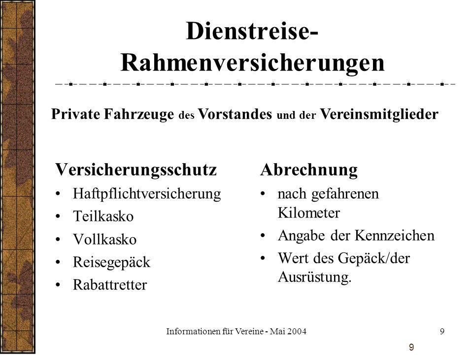 Informationen für Vereine - Mai 20049 9 Dienstreise- Rahmenversicherungen Versicherungsschutz Haftpflichtversicherung Teilkasko Vollkasko Reisegepäck