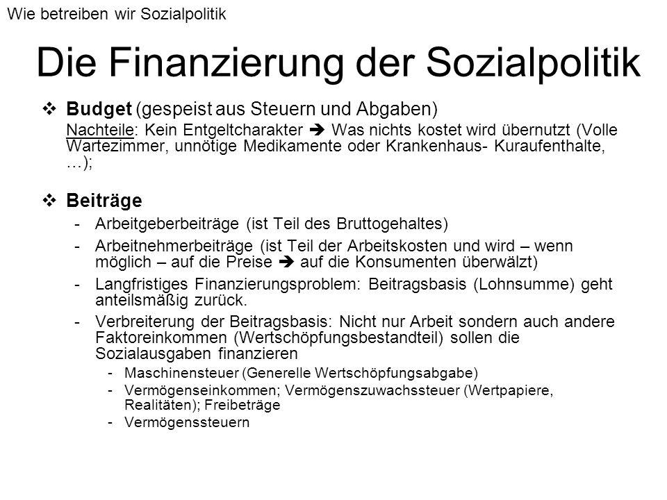 Die Finanzierung der Sozialpolitik Budget (gespeist aus Steuern und Abgaben) Nachteile: Kein Entgeltcharakter Was nichts kostet wird übernutzt (Volle