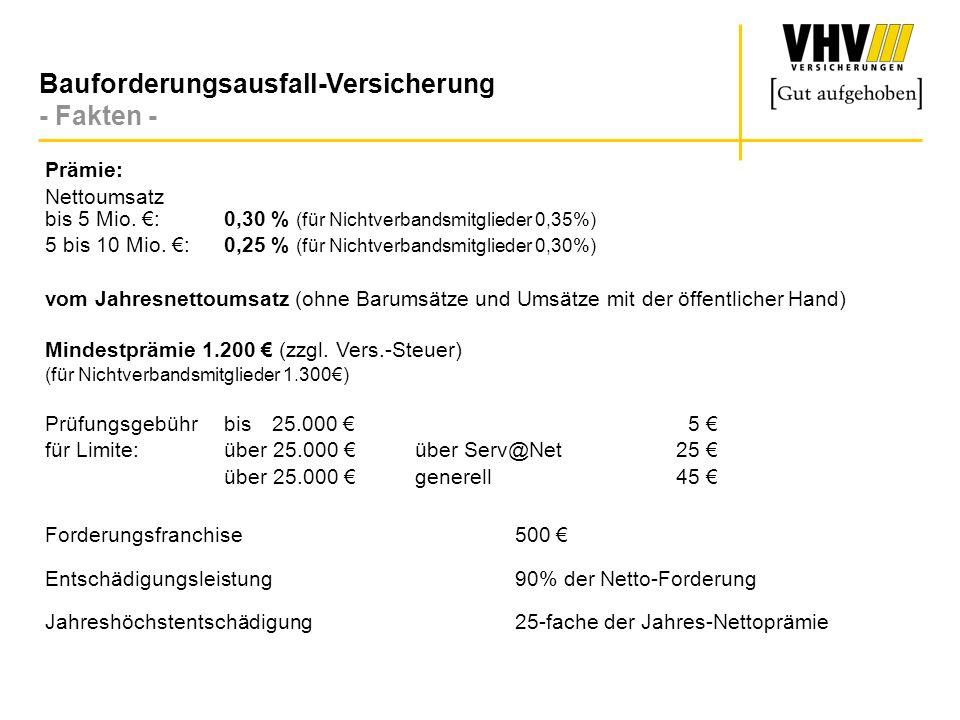 Bauforderungsausfall-Versicherung - Beispiel Prämienberechnung - Jahresumsatz:1.400.000./.