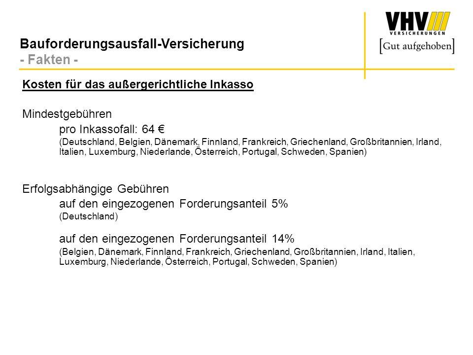 Bauforderungsausfall-Versicherung - Beispiel Inkassokosten - Eingereichtes Forderungsvolumen :10.000 (deutsche Forderung) Bei Nichtrealisierung der Forderung: Mindestgebühr64 (zzgl.