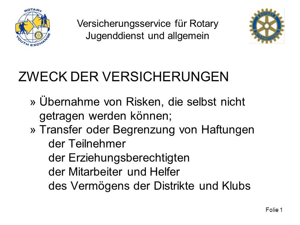 Versicherungsservice für Rotary Jugenddienst und allgemein Folie 1 ZWECK DER VERSICHERUNGEN » Übernahme von Risken, die selbst nicht getragen werden k