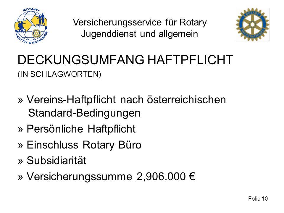 Versicherungsservice für Rotary Jugenddienst und allgemein Folie 10 DECKUNGSUMFANG HAFTPFLICHT (IN SCHLAGWORTEN) » Vereins-Haftpflicht nach österreich