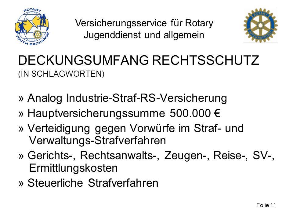 Versicherungsservice für Rotary Jugenddienst und allgemein Folie 11 DECKUNGSUMFANG RECHTSSCHUTZ (IN SCHLAGWORTEN) » Analog Industrie-Straf-RS-Versiche