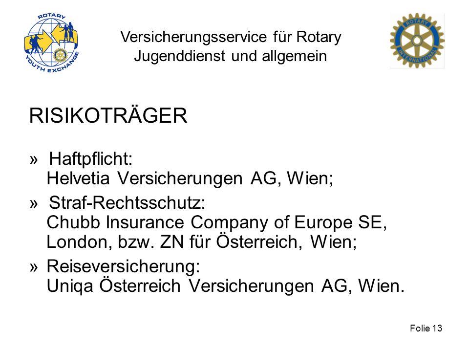 Versicherungsservice für Rotary Jugenddienst und allgemein Folie 13 RISIKOTRÄGER » Haftpflicht: Helvetia Versicherungen AG, Wien; » Straf-Rechtsschutz