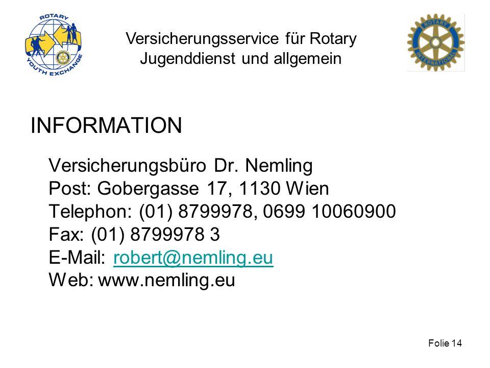 Versicherungsservice für Rotary Jugenddienst und allgemein Folie 14 INFORMATION Versicherungsbüro Dr. Nemling Post: Gobergasse 17, 1130 Wien Telephon: