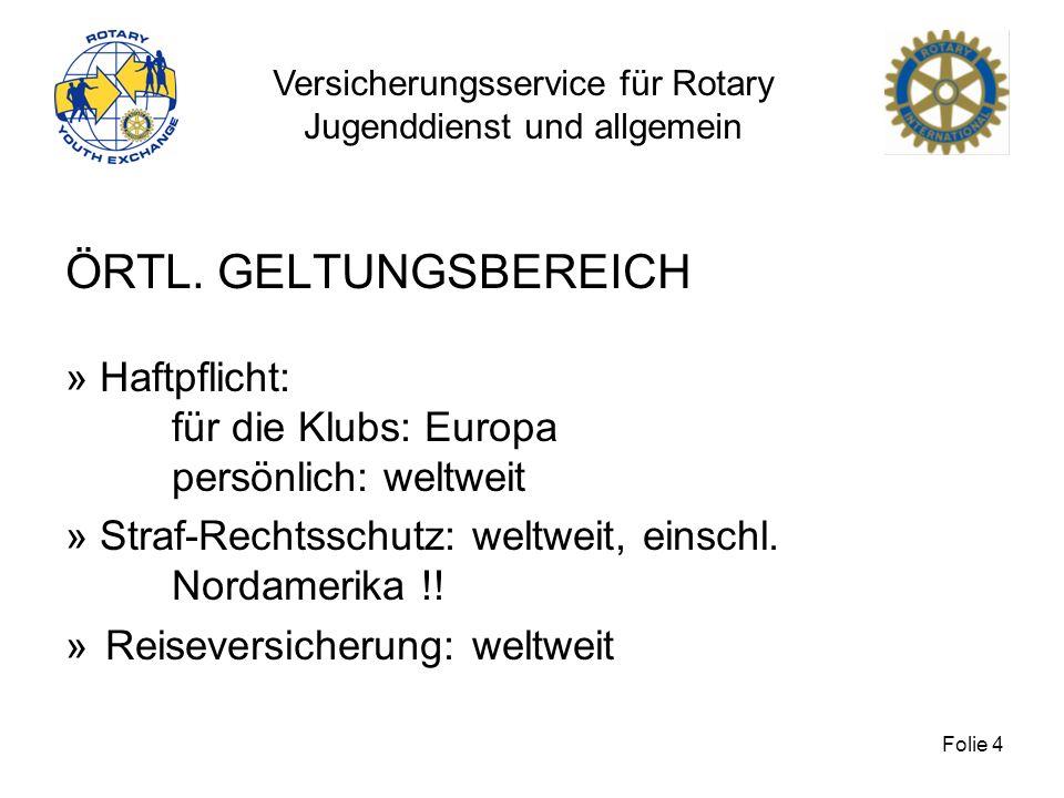 Versicherungsservice für Rotary Jugenddienst und allgemein Folie 5 PERSÖNLICHER GELTUNGSBEREICH HAFTPFLICHT Alle juristischen Personen Rotarys, also Klubs, Zweckvereine (Hauptrisiko Jugend) einschl.