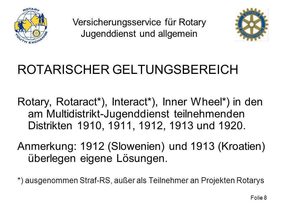 Versicherungsservice für Rotary Jugenddienst und allgemein Folie 8 ROTARISCHER GELTUNGSBEREICH Rotary, Rotaract*), Interact*), Inner Wheel*) in den am
