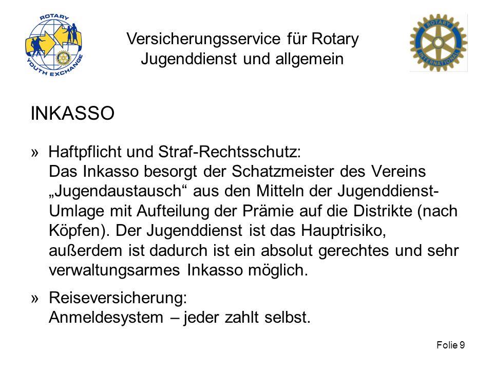 Versicherungsservice für Rotary Jugenddienst und allgemein Folie 9 INKASSO » Haftpflicht und Straf-Rechtsschutz: Das Inkasso besorgt der Schatzmeister