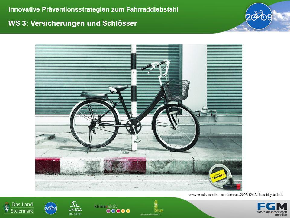 Innovative Präventionsstrategien zum Fahrraddiebstahl WS 3: Versicherungen und Schlösser www.creativeandlive.com/archives/2007/12/12/clima-bicycle-loc