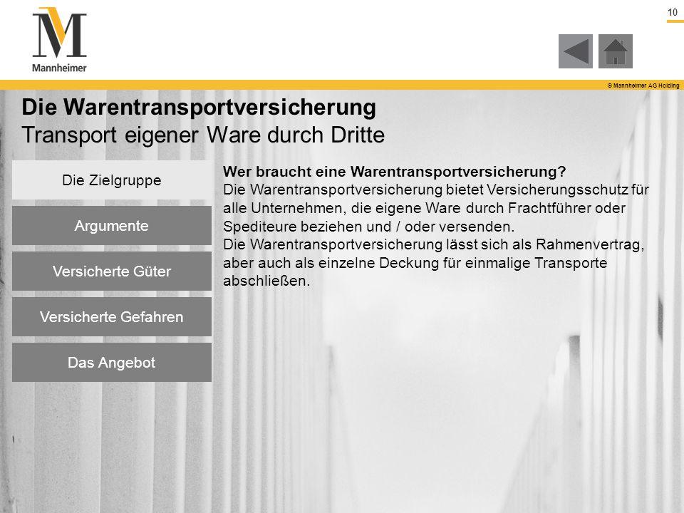 10 © Mannheimer AG Holding Die Warentransportversicherung Transport eigener Ware durch Dritte Wer braucht eine Warentransportversicherung? Die Warentr