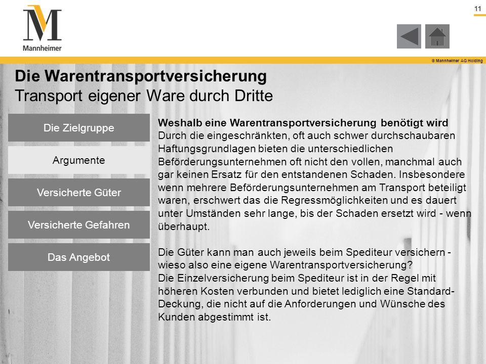11 © Mannheimer AG Holding Die Warentransportversicherung Transport eigener Ware durch Dritte Weshalb eine Warentransportversicherung benötigt wird Du