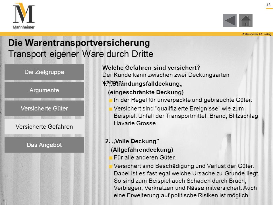 13 © Mannheimer AG Holding Die Warentransportversicherung Transport eigener Ware durch Dritte Welche Gefahren sind versichert? Der Kunde kann zwischen