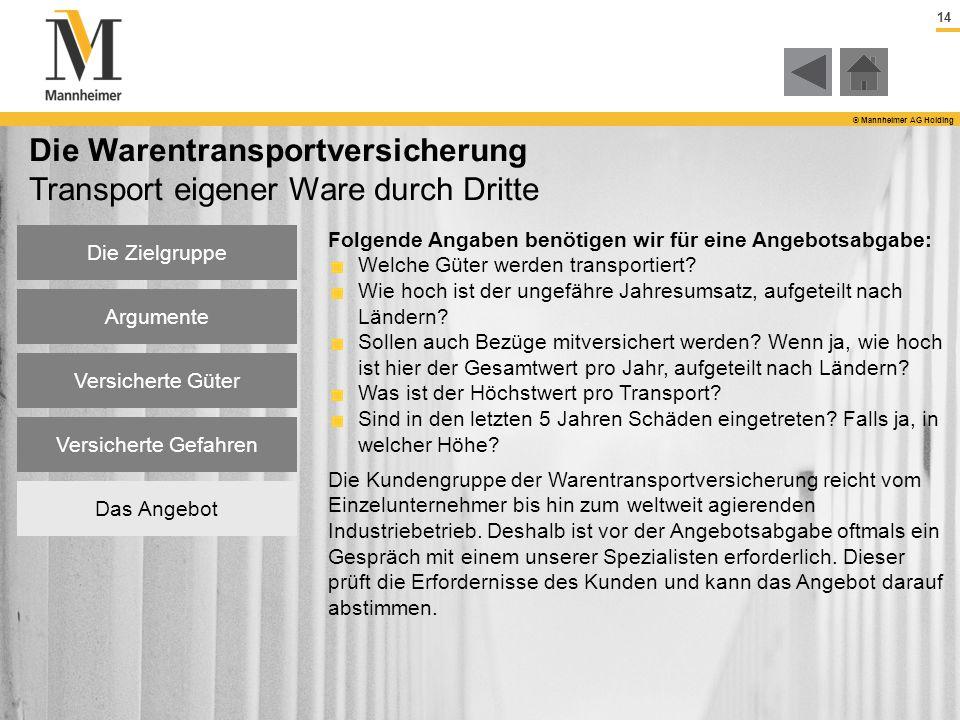 14 © Mannheimer AG Holding Die Zielgruppe Argumente Versicherte Güter Versicherte Gefahren Das Angebot Die Warentransportversicherung Transport eigene